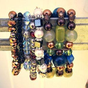 AB Crystals Beads Charm Stones Bracelet Bundle!